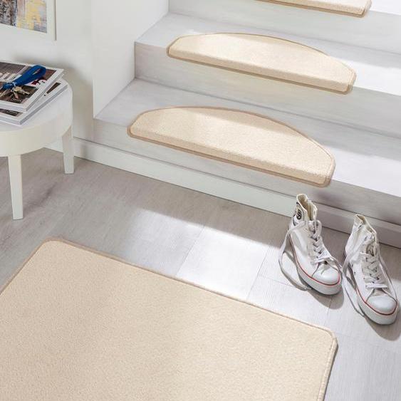 Stufenmatte, Fancy, HANSE Home, halbrund, Höhe 7 mm, maschinell getuftet 22, 15x 23x65 cm, mm beige Stufenmatten Teppiche