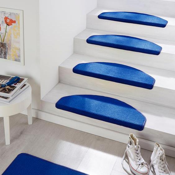 Stufenmatte, Fancy, HANSE Home, halbrund, Höhe 7 mm, maschinell getuftet 22, 15x 23x65 cm, mm blau Stufenmatten Teppiche