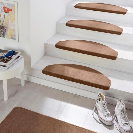Stufenmatte, Fancy, HANSE Home, halbrund, Höhe 7 mm, maschinell getuftet 22, 15x 23x65 cm, mm braun Stufenmatten Teppiche