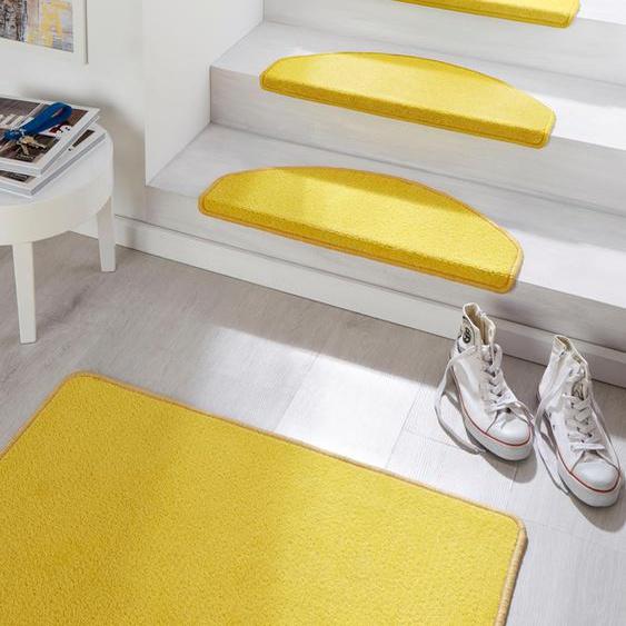 Stufenmatte, Fancy, HANSE Home, halbrund, Höhe 7 mm, maschinell getuftet 22, 15x 23x65 cm, mm gelb Stufenmatten Teppiche