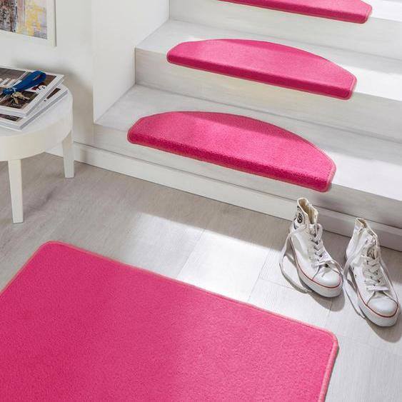 Stufenmatte, Fancy, HANSE Home, halbrund, Höhe 7 mm, maschinell getuftet 22, 15x 23x65 cm, mm rosa Stufenmatten Teppiche