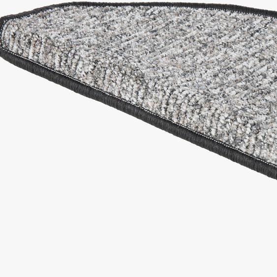 Stufenmatte, Leo, Andiamo, halbrund, Höhe 6 mm, maschinell getuftet 22, 15x 28x65 cm, mm grau Stufenmatten Teppiche
