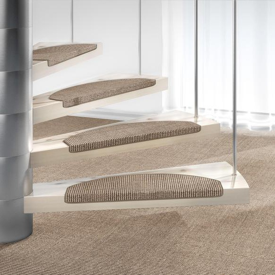 Stufenmatte, Mara S2, Dekowe, halbrund, Höhe 5 mm, maschinell gewebt 22, 15x 25x65 cm, mm beige Stufenmatten Teppiche