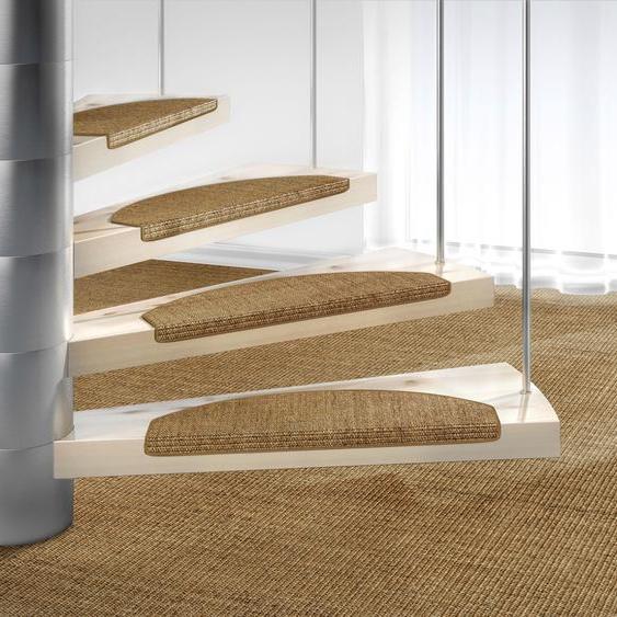 Stufenmatte, Mara S2, Dekowe, halbrund, Höhe 5 mm, maschinell gewebt 22, 15x 25x65 cm, mm braun Stufenmatten Teppiche