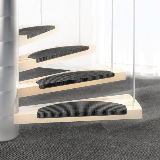 Stufenmatte, Mara S2, Dekowe, halbrund, Höhe 5 mm, maschinell gewebt 22, 15x 25x65 cm, mm grau Stufenmatten Teppiche