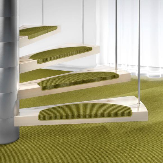 Stufenmatte, Mara S2, Dekowe, halbrund, Höhe 5 mm, maschinell gewebt 22, 15x 25x65 cm, mm grün Stufenmatten Teppiche