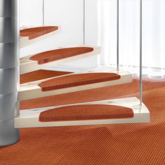 Stufenmatte, Mara S2, Dekowe, halbrund, Höhe 5 mm, maschinell gewebt 22, 15x 25x65 cm, mm orange Stufenmatten Teppiche