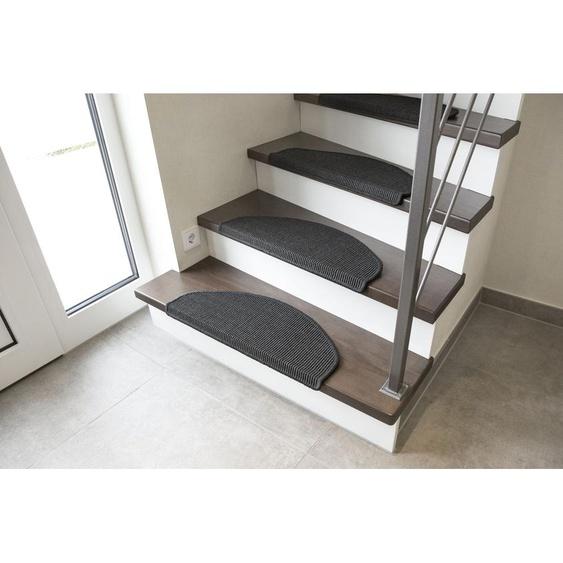 Stufenmatte, Odense, Andiamo, halbrund, Höhe 9 mm 21, 2x 65x28 cm, grau Stufenmatten Teppiche