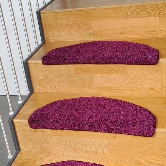 Stufenmatte »Shaggy Pulpo«, Living Line, halbrund, Höhe 22 mm, Shaggy Teppich