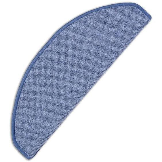 Stufenmatte, Torronto, Living Line, halbrund, Höhe 5 mm, maschinell gewebt 22, 15x 24x65 cm, mm blau Stufenmatten Teppiche