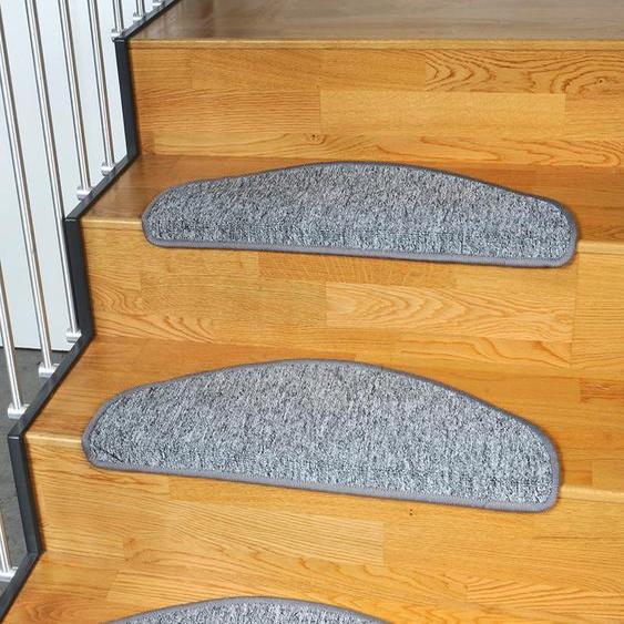 Stufenmatte, Torronto, Living Line, halbrund, Höhe 5 mm, maschinell gewebt 22, 15x 24x65 cm, mm grau Stufenmatten Teppiche