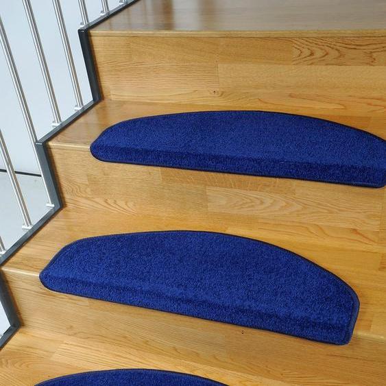 Stufenmatte, Trend, Living Line, halbrund, Höhe 8 mm, maschinell getuftet 22, 15x 24x65 cm, mm blau Stufenmatten Teppiche