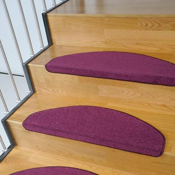 Stufenmatte, Trend, Living Line, halbrund, Höhe 8 mm, maschinell getuftet 22, 15x 24x65 cm, mm lila Stufenmatten Teppiche