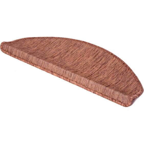 Stufenmatte, York, LUXOR living, halbrund, Höhe 8 mm, maschinell gewebt 22, 15x 28x65 cm, mm braun Stufenmatten Teppiche