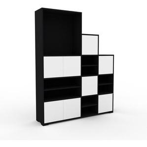 Stufenregal Schwarz - Modernes Treppenregal für Bücher: Türen in Weiß - 154 x 196 x 35 cm, Selbst designen