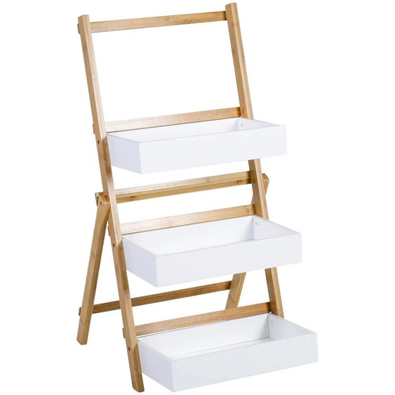 Stufenregal, 42x75x38.5 cm (BxHxT), axentia, weiß, Material Bambus