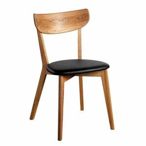 Stuhl aus Eiche Massivholz Schwarz Kunstleder (2er Set)