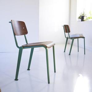 Stuhl aus grünem Metall und Walnussba Mio