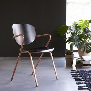 Stuhl aus Metall und Eichenholz in schwarz und kupferfarben Ada copper