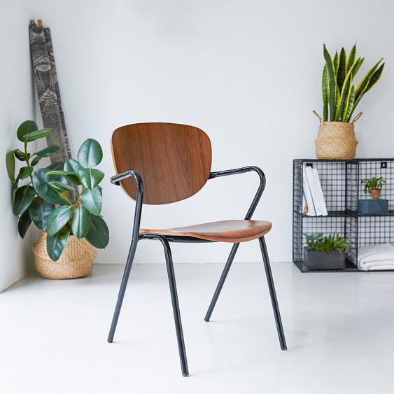 Stuhl aus schwarzem Metall und Walnussba Ada
