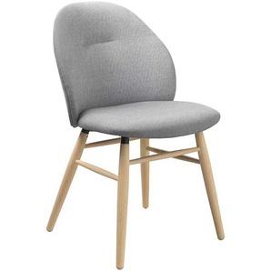 Stuhl Esszimmer im Skandi Design Webstoff und Massivholz