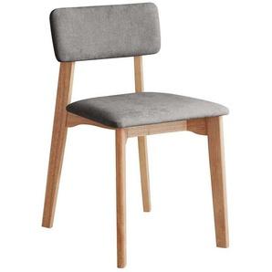 Stuhl im Skandi Design Grau Webstoff