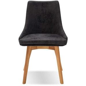 Stuhl in Anthrazit Microfaser 50 cm Sitzhöhe