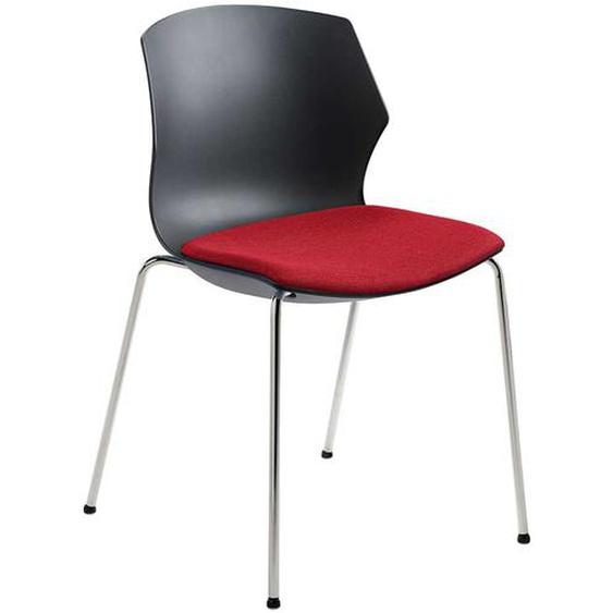 Stuhl in Anthrazit und Rot Kunststoff