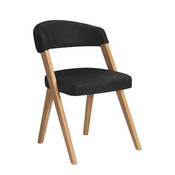 Stuhl in Schwarz Kunstleder Massivholzgestell