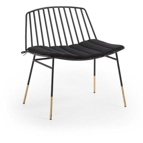 Stuhl in Schwarz Stahl gepolsterter Sitzfläche