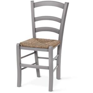 Stuhl mit geflochtener Sitzfläche - grau - Massivholz -