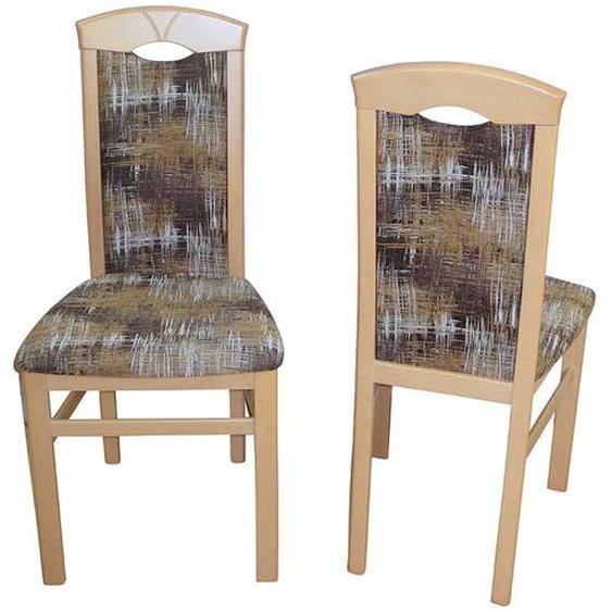 Stuhl Set aus Buche Massivholz Bunt Webstoff (2er Set)