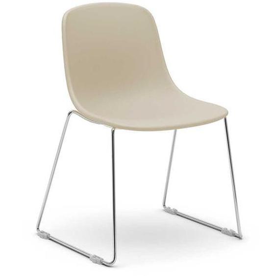 Stuhl Set in Beige aus Kunststoff und Metall (2er Set)
