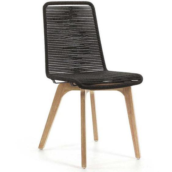 Stuhl Set in Dunkelgrau Kordelgeflecht (2er Set)