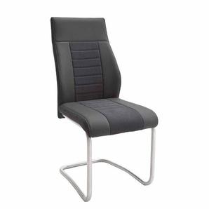 Stuhl Set in Schwarz Kunstleder Edelstahl geb�rstet (2er Set)