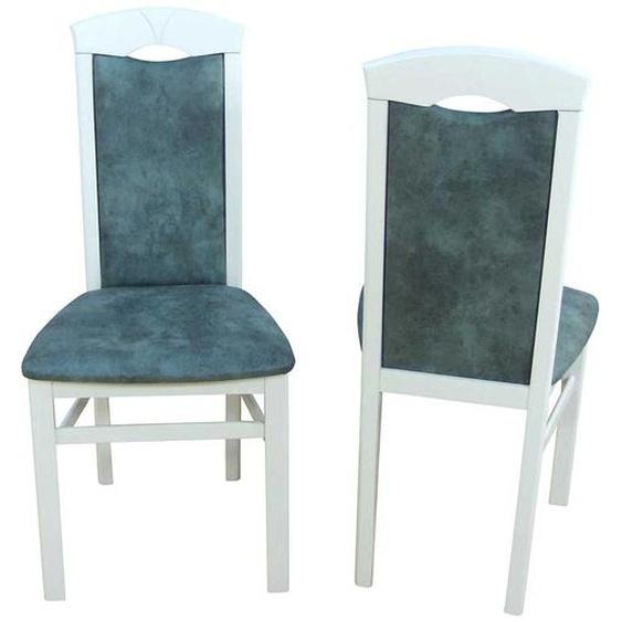 Stuhl Set in Wei� Buche Grau Blau Microfaser (2er Set)