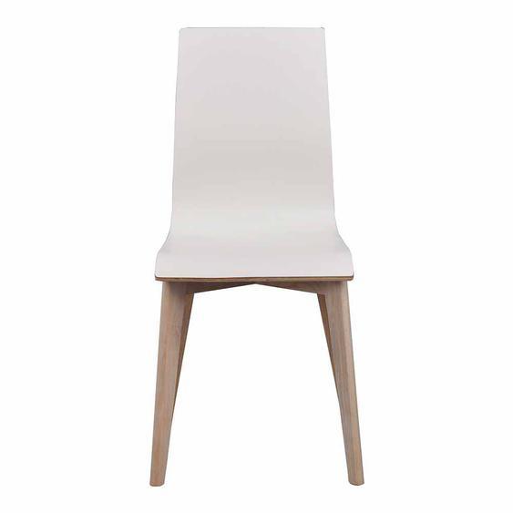 Stuhl Set in Weiß Eiche White Wash Holzbeine (2er Set)