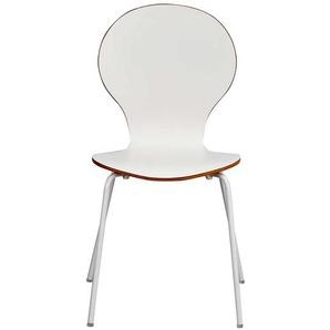 Stuhl Set in Weiß und Eiche Schichtholz (4er Set)