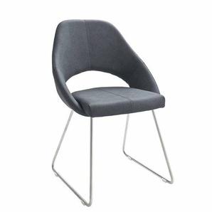Stuhl Set mit offener Lehne Grau (2er Set)