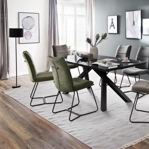 Stuhlgruppe Hampton / Everett in anthrazit, mit Tischplatte aus Glas