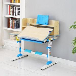 style home Kinderschreibtisch, höhenverstellbar neigbar Schülerschreibtisch mit Bücherregal und Schublade B/T/H: 95,5 x 53 x 84-109 cm (Blau)