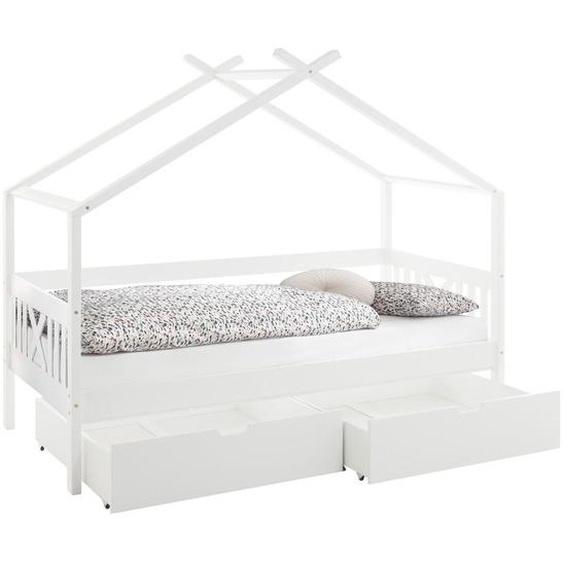 Stylife Hausbett , Weiß , Holz , Kiefer , massiv , 90x200 cm