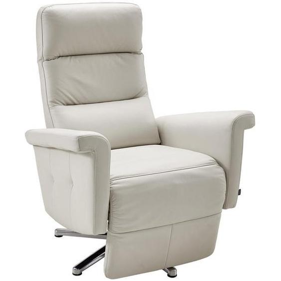 Stylife Relaxsessel Echtleder Relaxfunktion , Beige , Leder , Uni , 79x108x90-164 cm