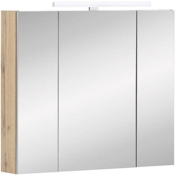 Stylife Spiegelschrank Braun , Glas , 6 Fächer , 80x71-75x16 cm