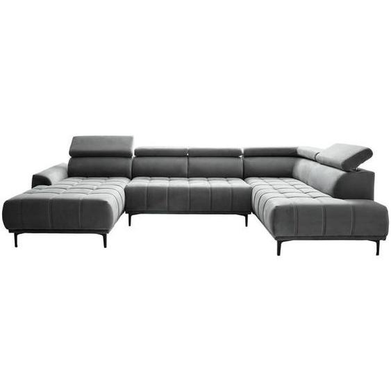 Stylife Wohnlandschaft Grau Velours , Textil , Uni , 4-Sitzer , 191 cm