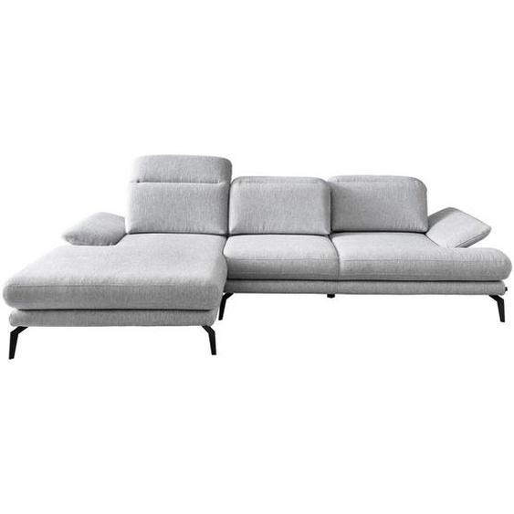 Stylife Wohnlandschaft inkl.Funktionen Grau Webstoff , Textil , 4-Sitzer , 180 cm