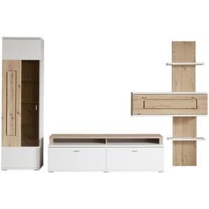 Stylife: Wohnwand, Glas, Weiß, Eiche, B/H/T 330 210 50