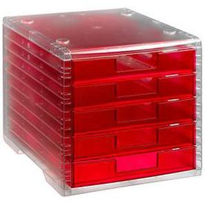 styro Schubladenbox Lightbox rot mit 5 Schubladen