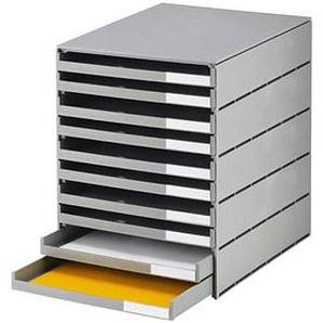 styro Schubladenbox styroval grau DIN C4 mit 10 Schubladen
