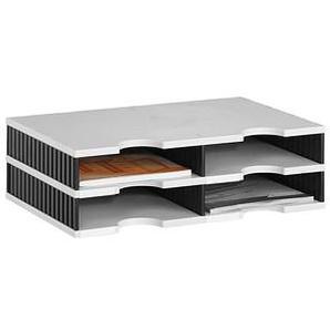 styro Sortierstation Styrodoc grau/schwarz mit 4 Fächern